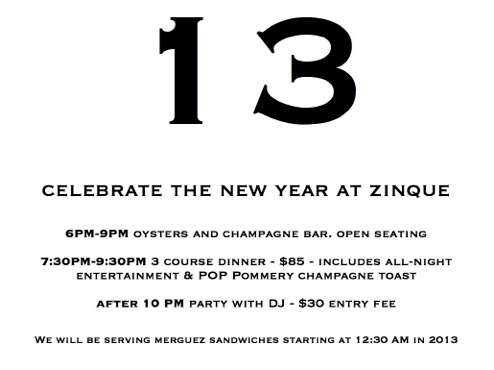 NYE at Zinque
